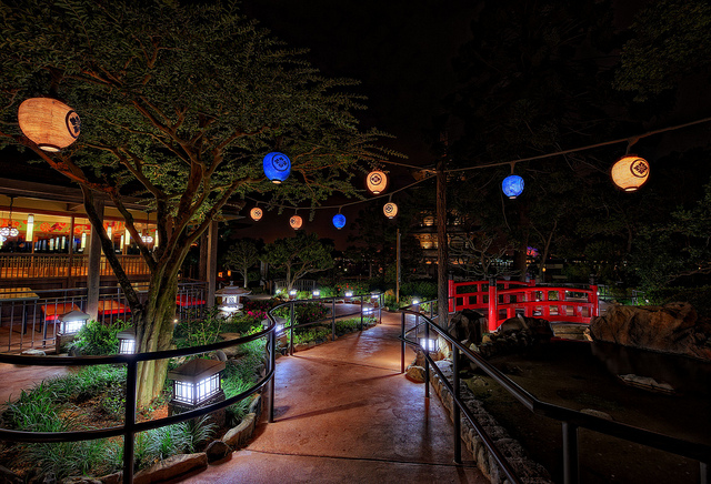 A beautiful path at night in Japan Pavilion