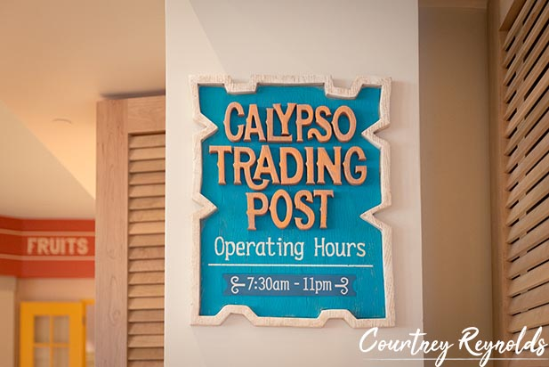 The sign for Calypso Trading Post in Disney Caribbean Beach Resort