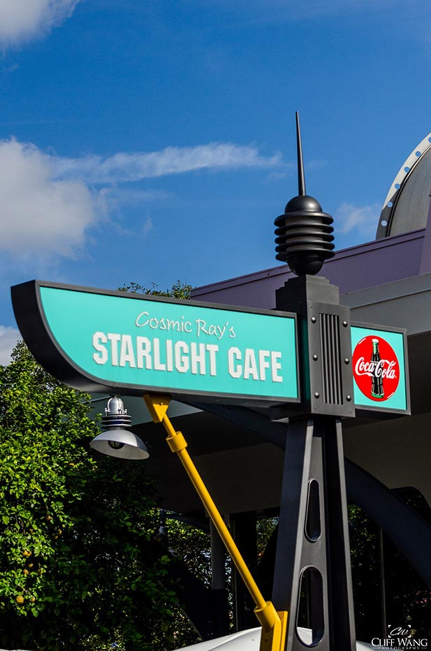 The sign outside of Cosmic Ray's Starlight Cafe.