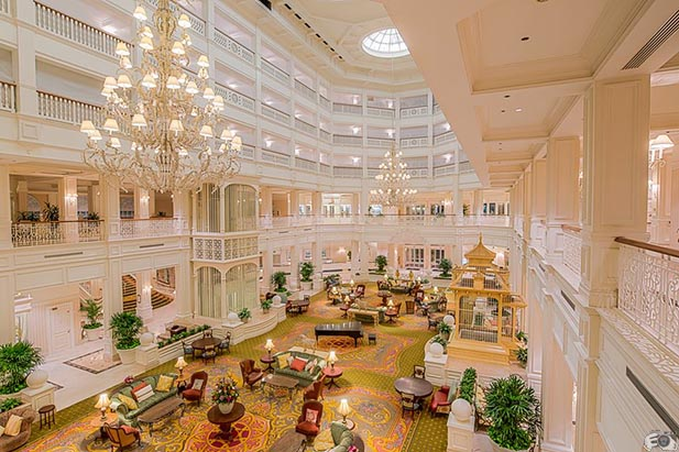 The lobby to the Grand Floridian Resort and Spa