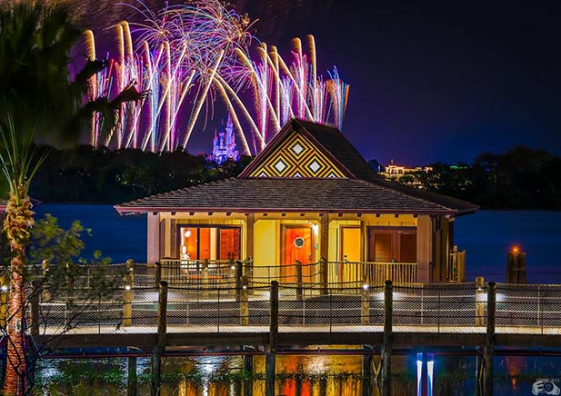 A Bungalow at the Polynesian Village Resort with the fireworks at the Magic Kingdom in the background
