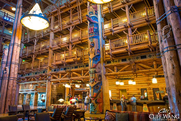 The check in area at the Wilderness Lodge and Villas