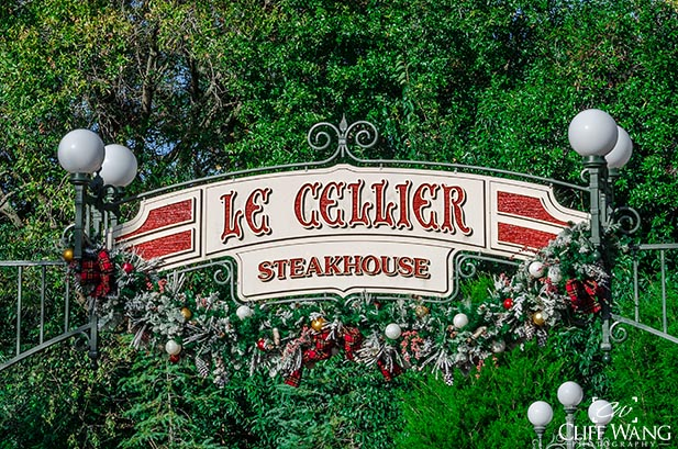 The sign for Le Cellier Steakhouse