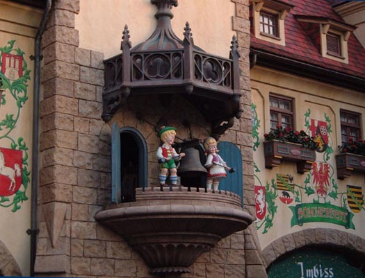 Ringing the bell at EPCOT Germany