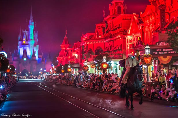 The Headless Horseman riding down Main Street USA during Mickey's Not So Scary Halloween Party