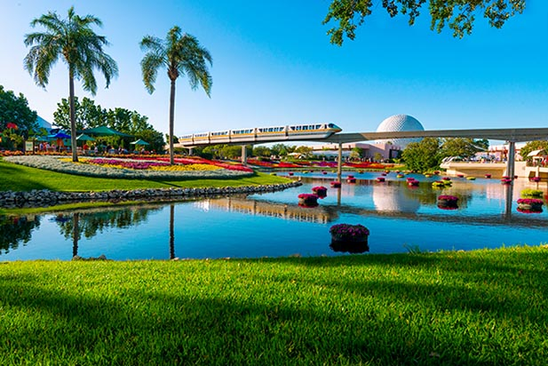 The Monorail running through EPCOT during the Flower and Garden Festival