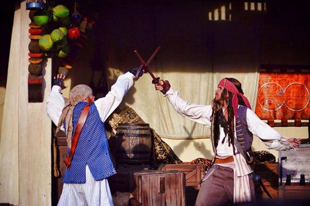 Jack Sparrow fighting outside Pirates of the Caribbean