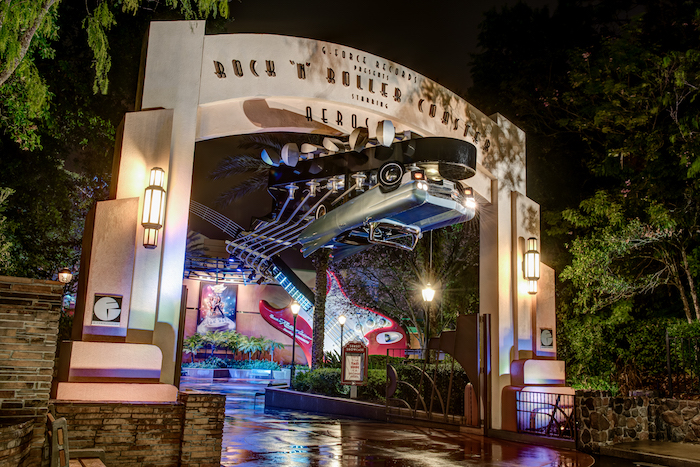 The entrance to Rock n Roller Coaster