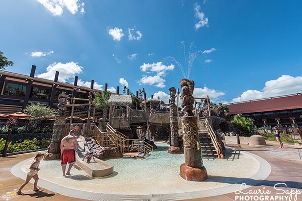 The water play area at the Polynesian Village Resort
