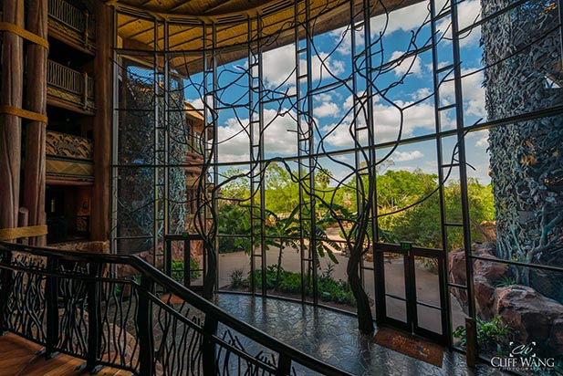 Looking out the window to the Savannah at the Animal Kingdom Lodge
