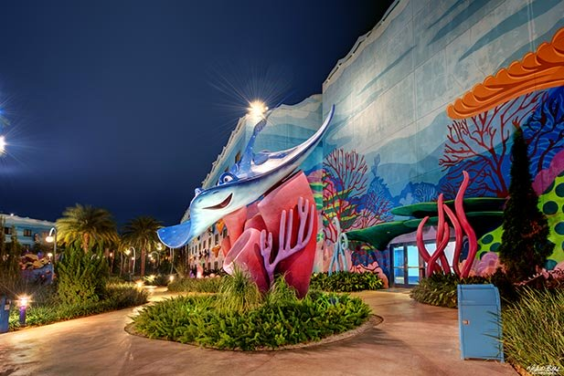 The Finding Nemo area of the Art of Animation Resort, one of the beautiful Disney Hotels