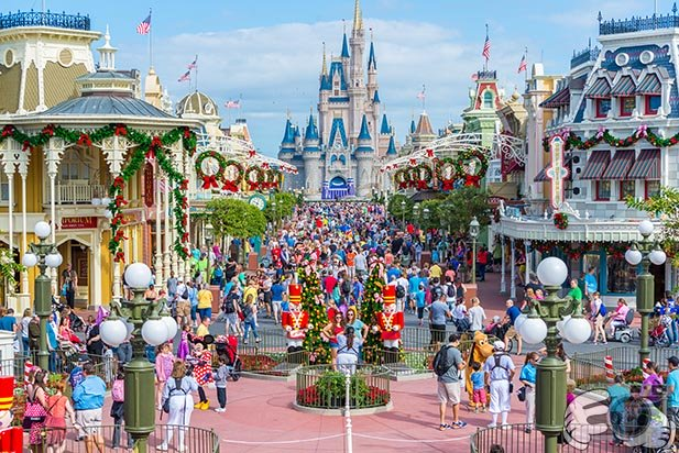 Looking at the Magic Kingdom Crowds on Main Street during Christmas at WDW
