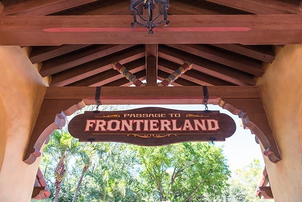 The entrance to Frontierland where the west begins in the Magic Kingdom
