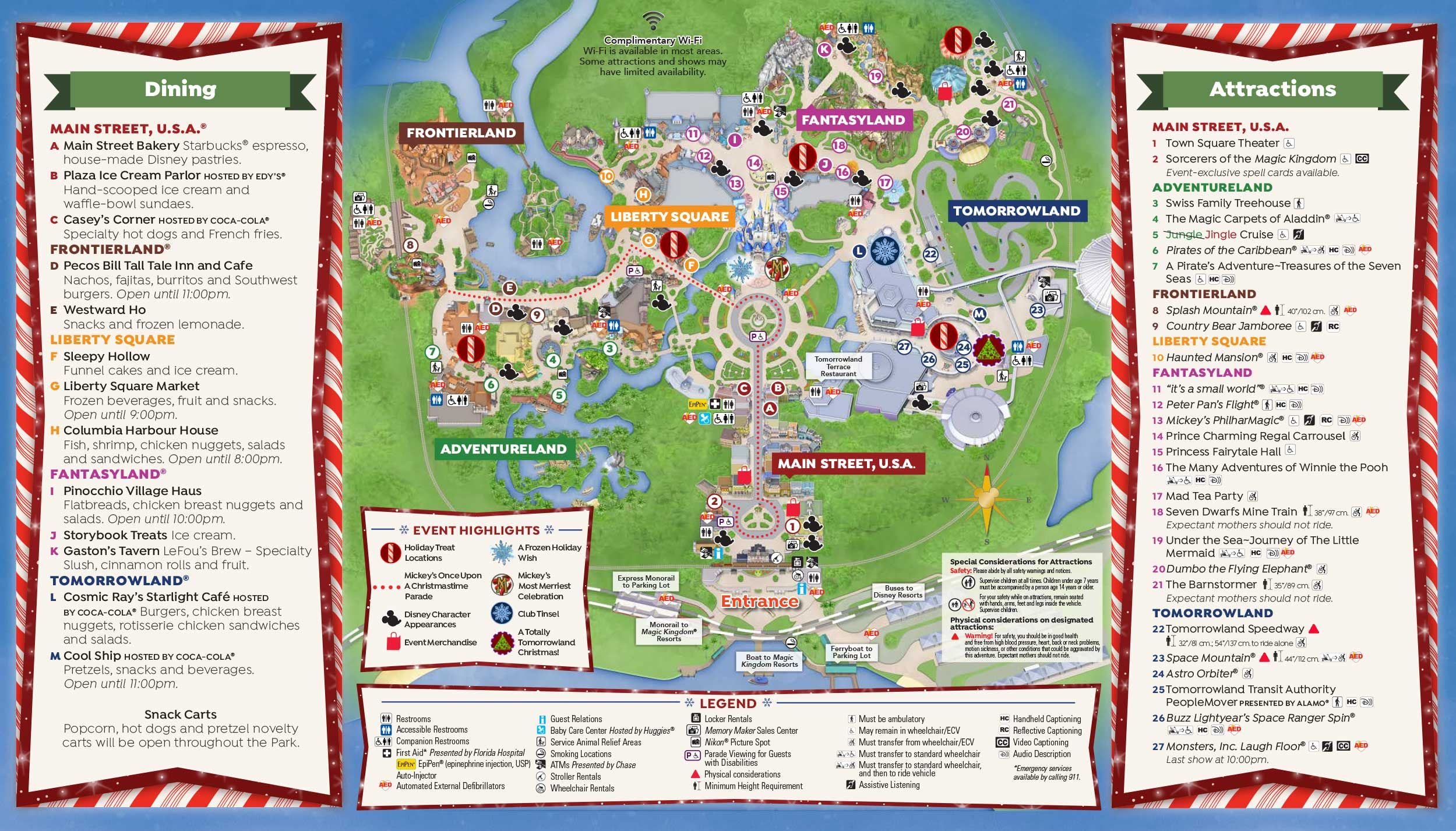 The map of Mickey's Very Merry Christmas Party