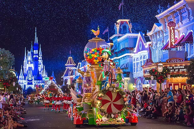 The candy float at Mickey's Very Merry Christmas Party Parade
