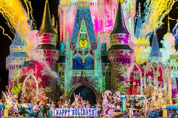 The ending of the Celebrate the Season show at Cinderella Castle Stage
