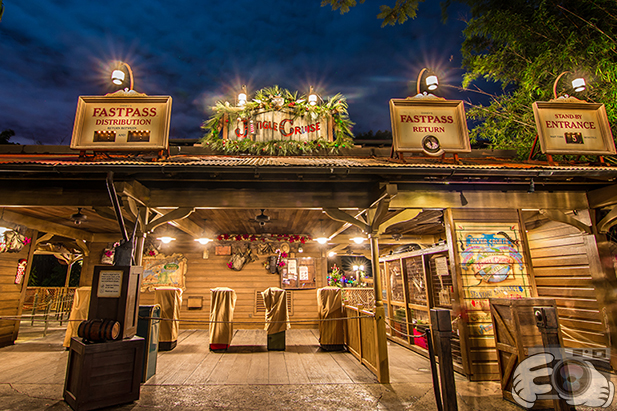 The entrance area to the Jingle Cruise
