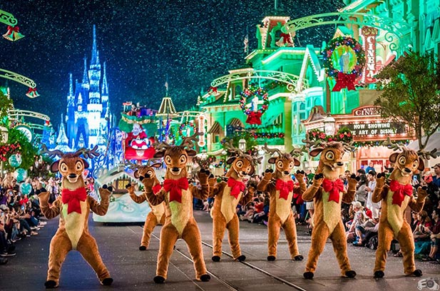 The Dancing Reindeer in the Once Upon a Christmas Time Parade at Mickey's Very Merry Christmas Party