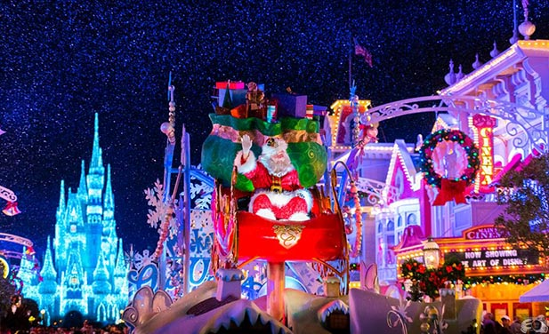 Santa at the end of Mickey's Once Upon a Christmas Time Parade