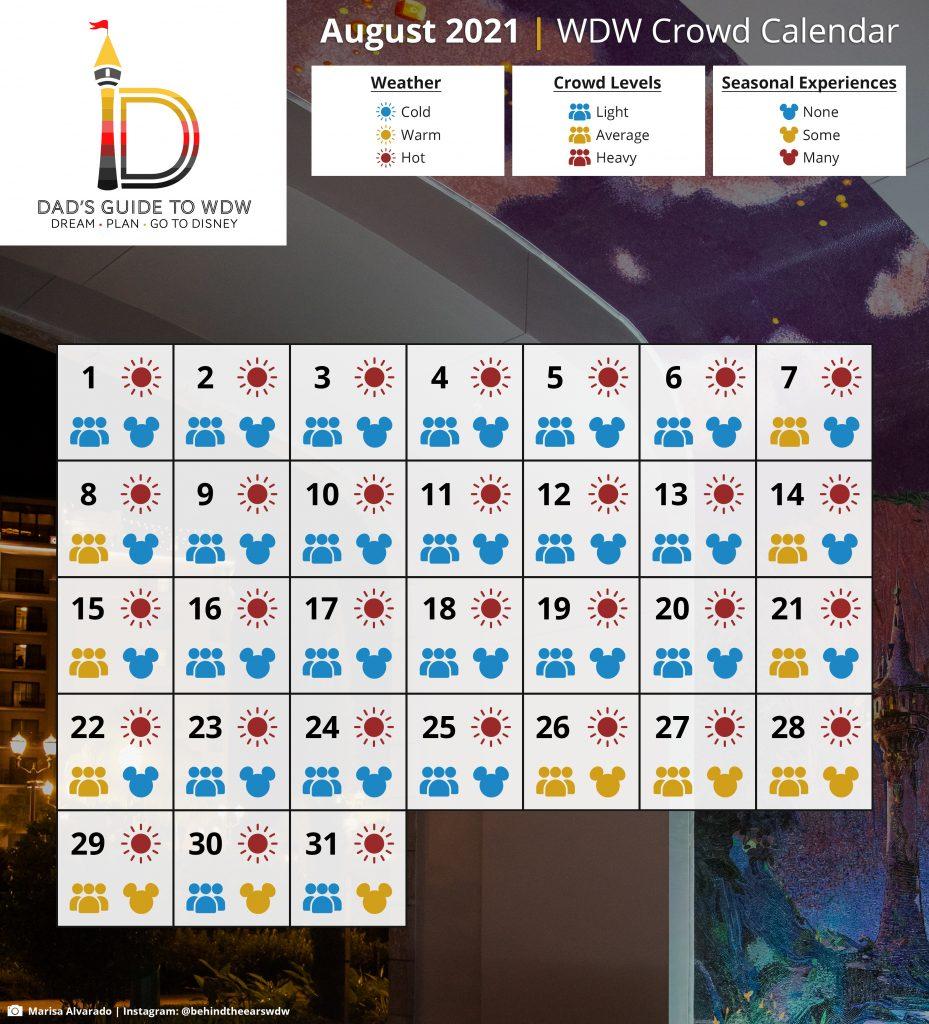 August 2021 WDW Crowd Calendar