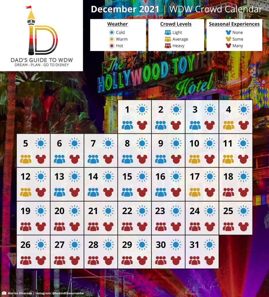 December 2021 WDW Crowd Calendar