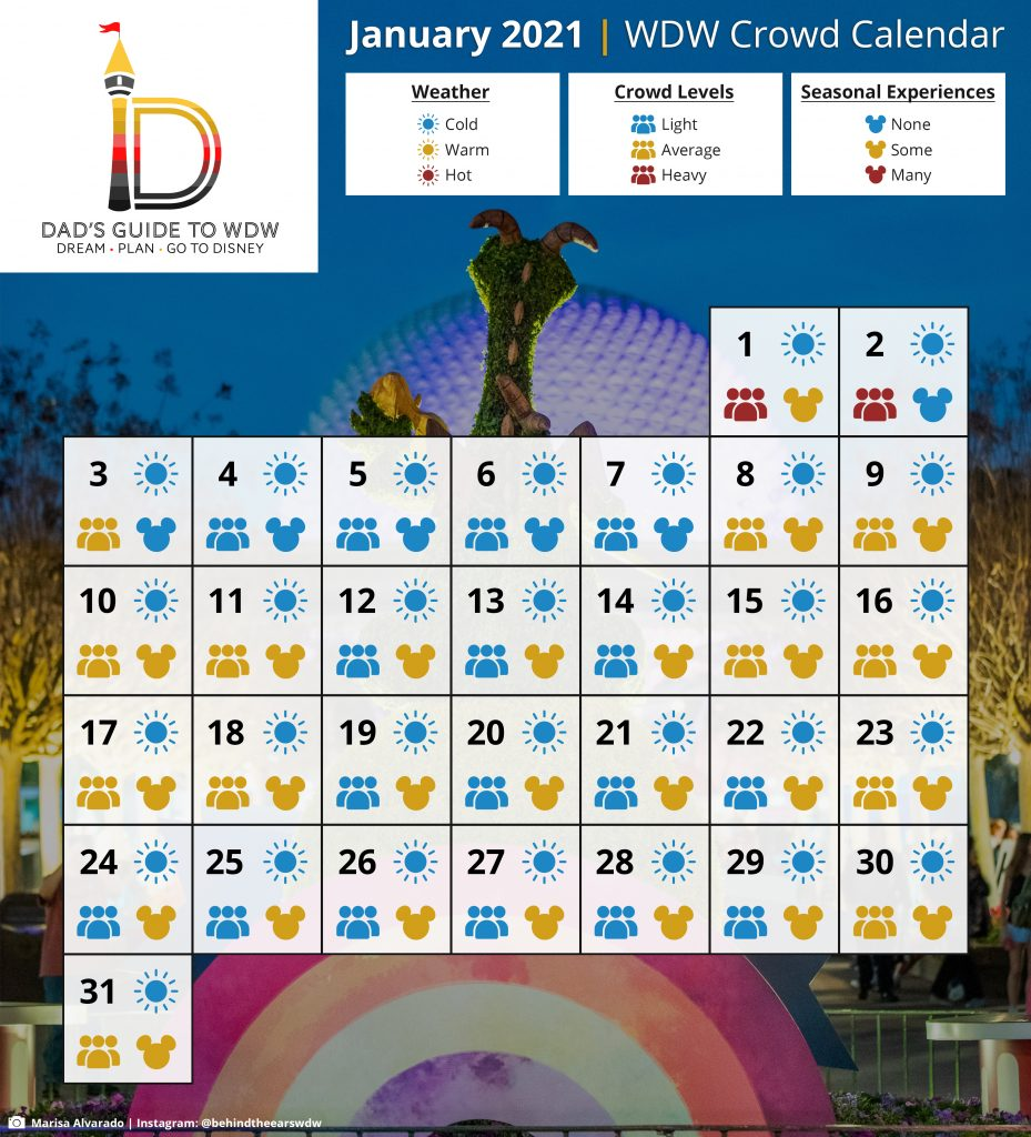 January Disney World Crowd Calendar