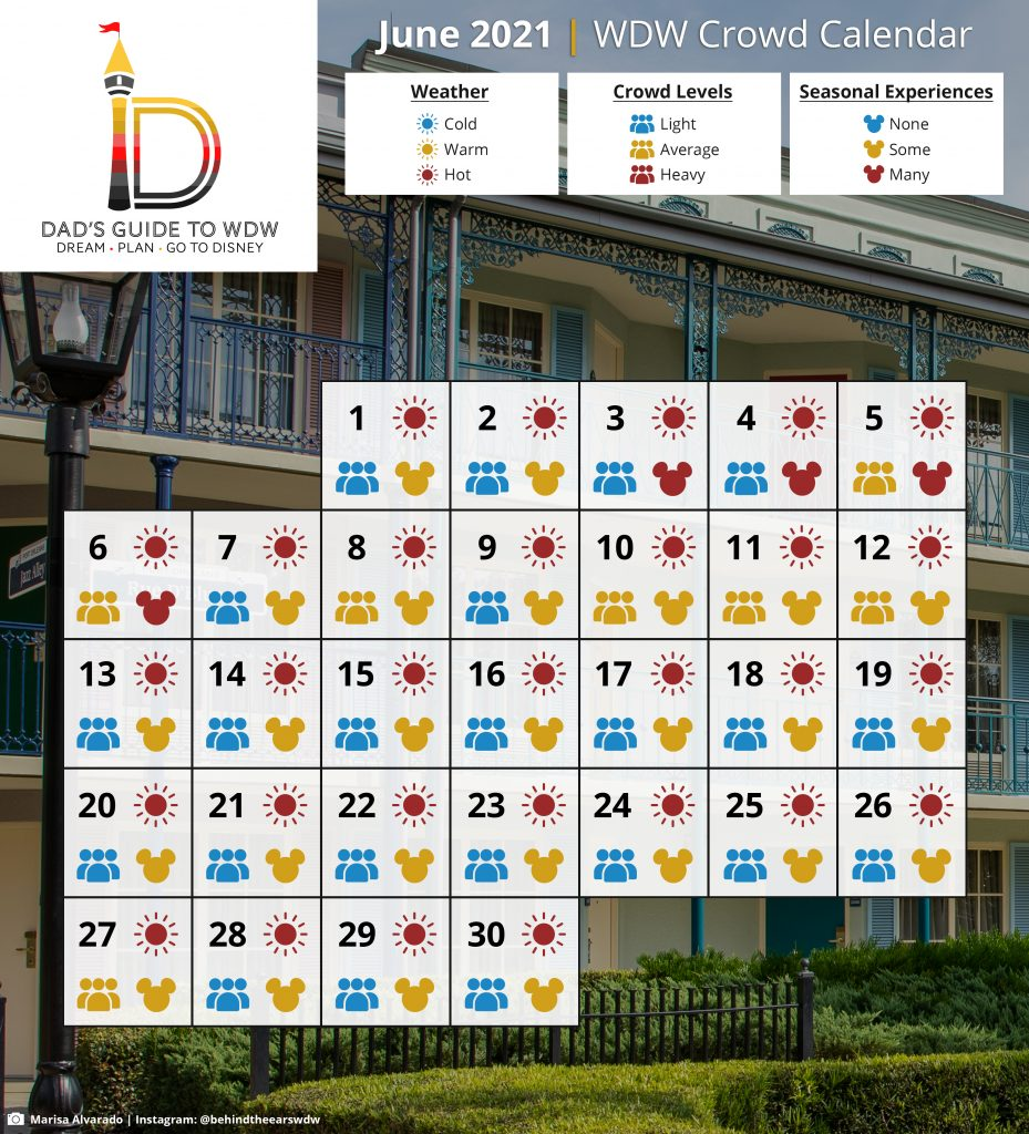 June 2021 WDW Crowd Calendar
