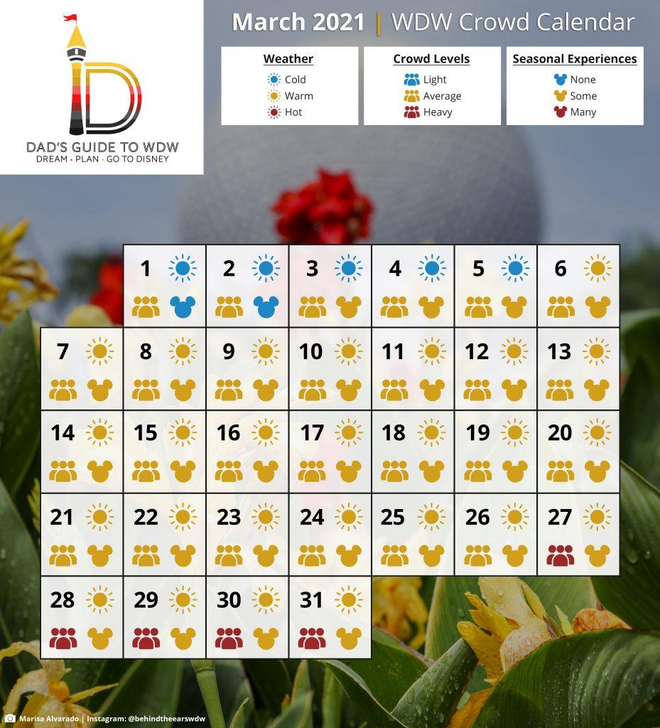 March 2021 WDW Crowd Calendar