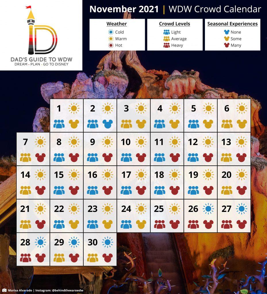 November 2021 WDW Crowd Calendar