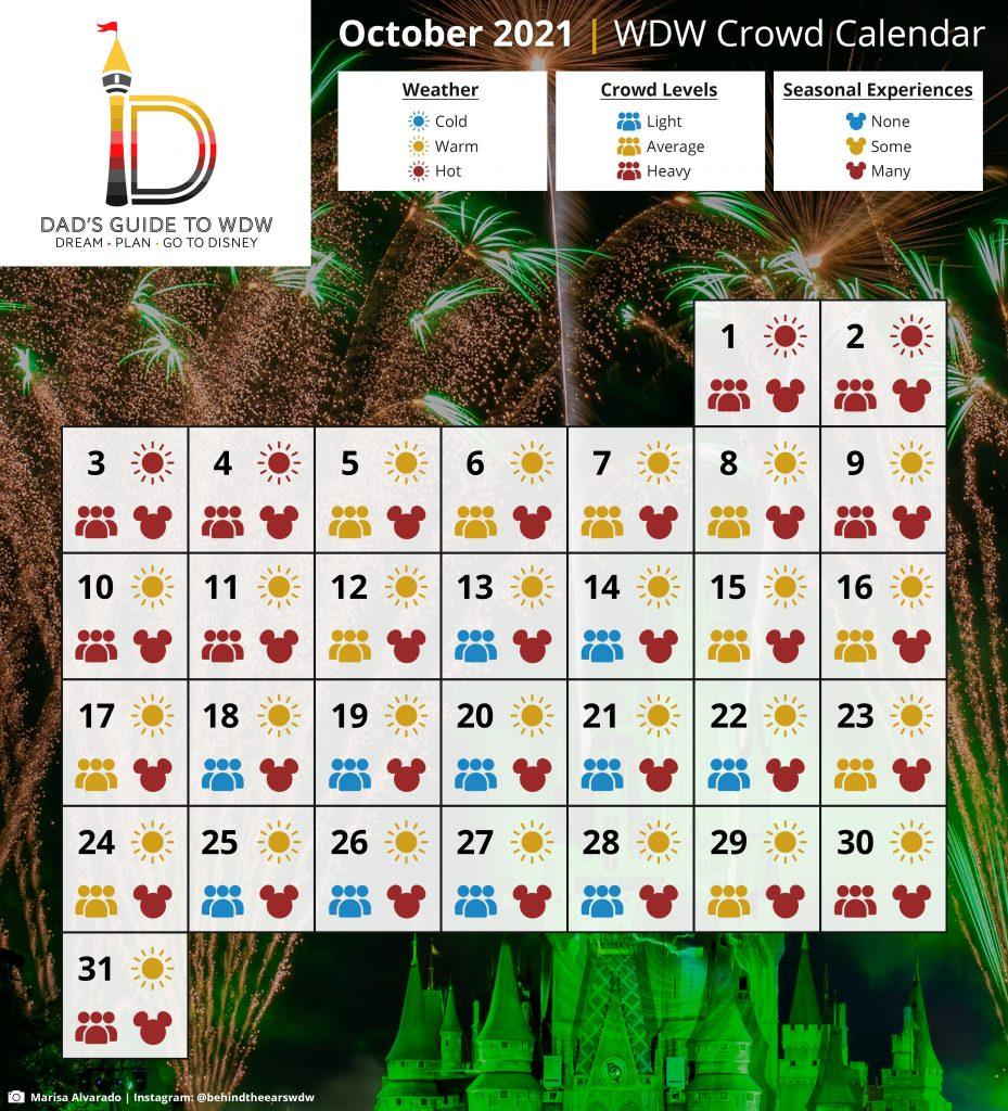 October 2021 WDW Crowd Calendar