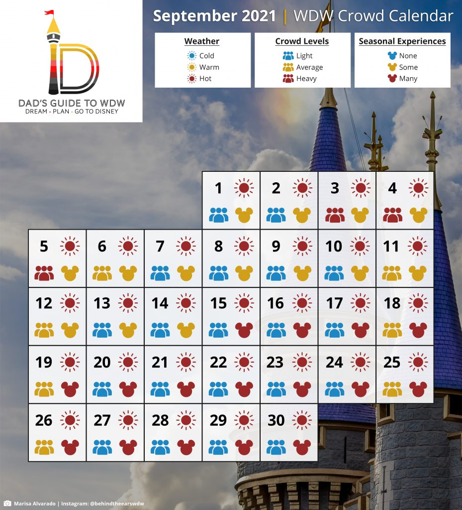 September 2021 WDW Crowd Calendar