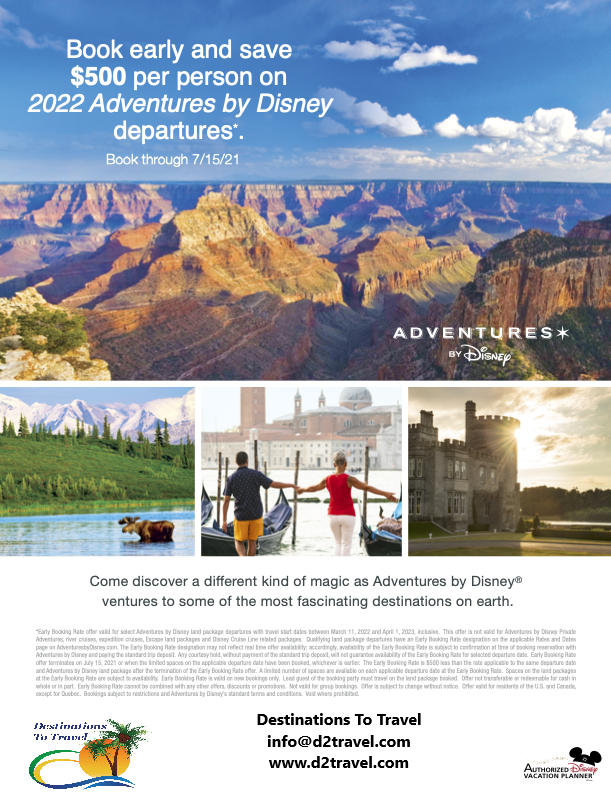 Adventures by Disney - 2022 Itineraries