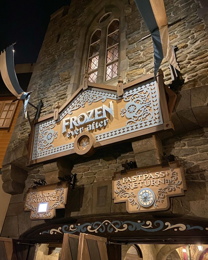 Frozen Ever After Exterior and Attraction Sign